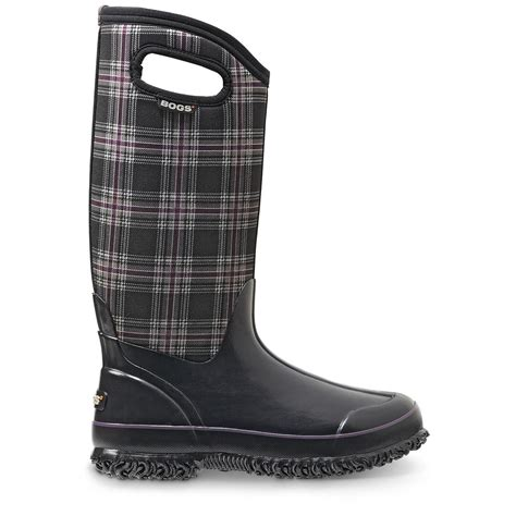 bogs s classic winter plaid high insulated rubber