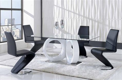 designer dining room sets exclusive rectangular glass top leather designer modern