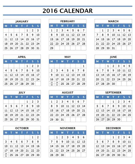 2016 calendar printable 2016 calendar templates microsoft and open office templates