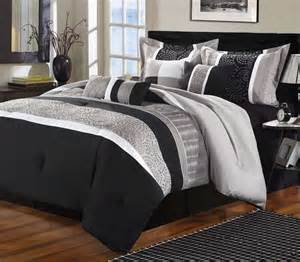 luxury home euphoria black grey embroidered 8 piece