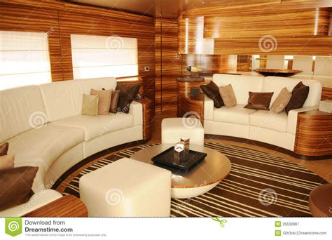 luxury yacht interior cozy living room stock image
