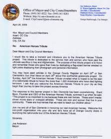Appreciation Letter Government Official from government officials american heroes tribute