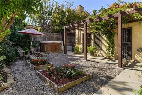 cottage patio with raised beds trellis in redlands ca