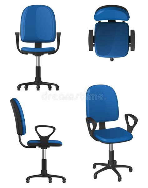 chair side view vector a twisting office chair on wheels with a blue upholstery