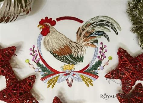 new year zodiac wreath machine embroidery design rooster with japanese wreath