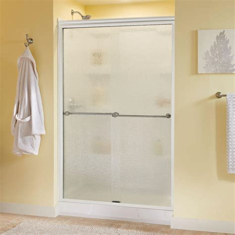 Rainx For Shower Doors Delta Crestfield 48 In X 70 In Semi Frameless Sliding Shower Door In White With Nickel Handle