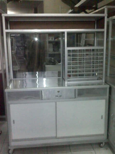 Etalase Khusus Pesanan penjualan etalase meja alumunium gerobak makanan rak