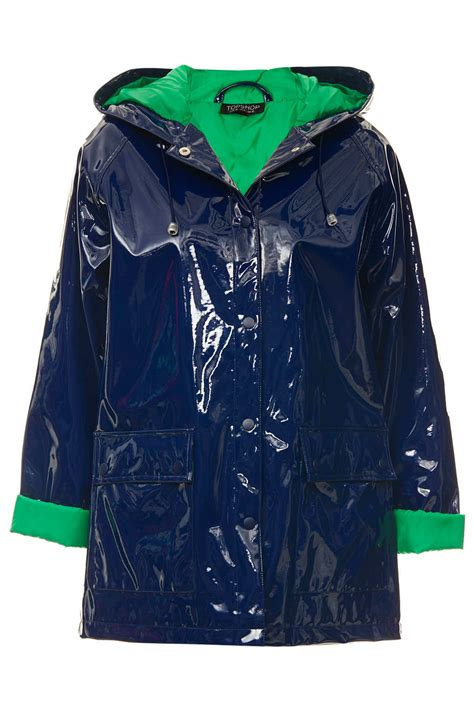 Jaket Bb Parka Vans By Dl Store lyst topshop patent hooded plastic mac in blue