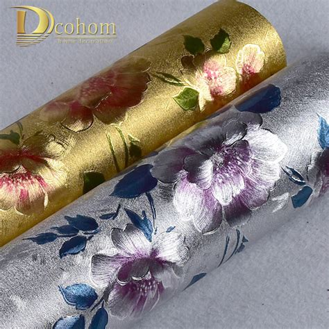 Wallpaper Pvc Import High Quality high quality vinyl waterproof gold silver glitter wallpaper for walls 3d flower wall papers home