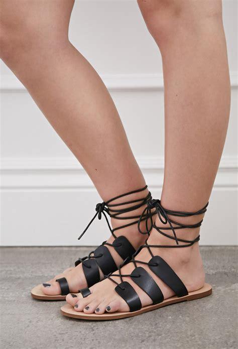 Sandal Preloved Gladiator 1 lyst forever 21 lace up gladiator sandals in black