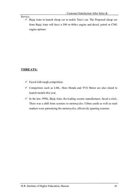 Customer Satisfaction Letter Format For Vehicle A Study Of Customer Satisfaction On After Sales And Service Conducted