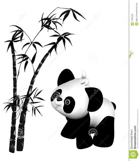 Character Wall Stickers toon toy panda en bamboe royalty vrije stock afbeelding