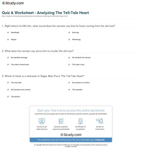 Tell Tale Worksheet by Tell Tale Essay Questions Docoments Ojazlink