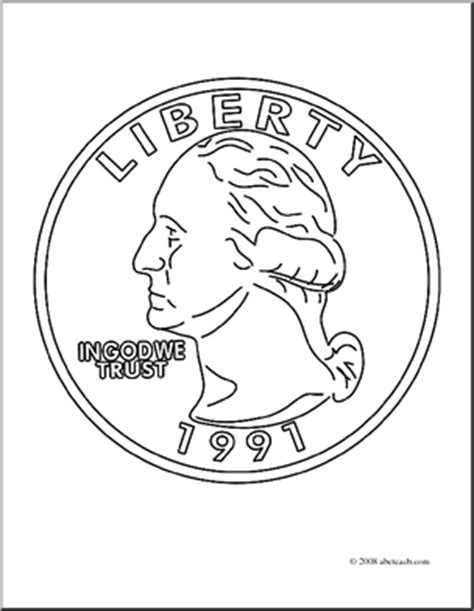 Coloring Page Quarter by Clip Quarter Front Coloring Page Abcteach