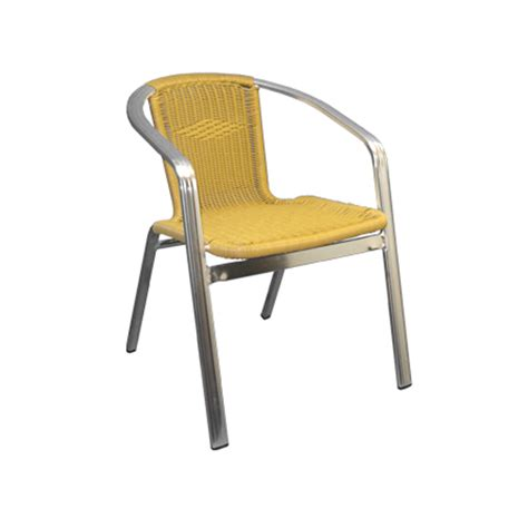 Golden Chairs by Aluminum And Golden Wicker Stacking Arm Chair At