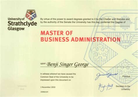 Mba Technology Management Uk by Benji Mba Sbs Uk Certificate
