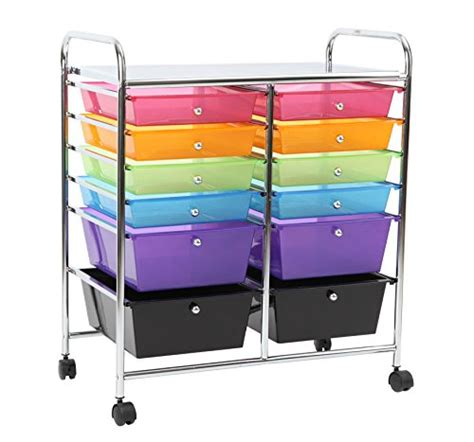 8 drawer rainbow cart finnhomy 12 drawer plastic portable mobile organizer