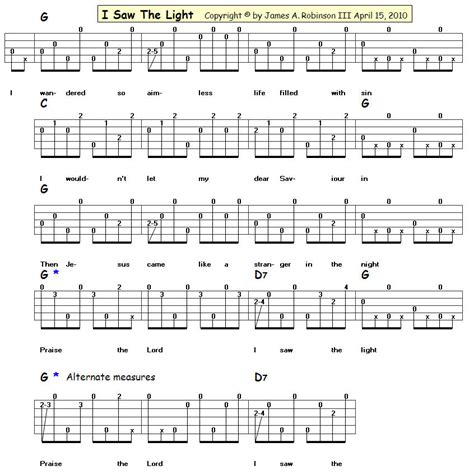 Lights Chords by I Saw The Light Easy Blue Grass Banjo