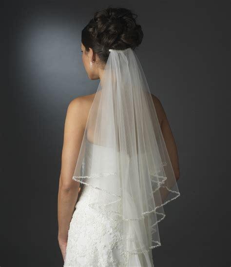 Brautfrisur Mit Schleier Hochzeit by Intricate Beaded Pearl Edge On Layer Length