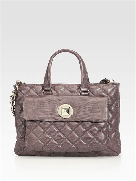 kate spade cbell quilted leather tote bag in gray grey