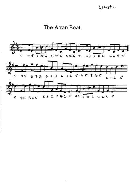 arran boat song sheet music group tunes index