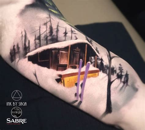 ski tattoo design ski cabin on mountain best ideas designs
