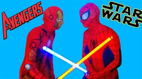 spiderman iron man star wars superhero battle real