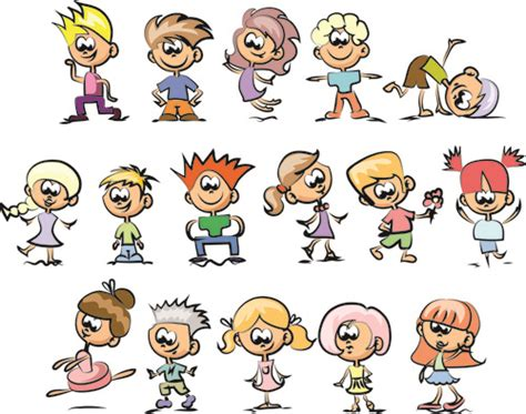 cartoon hairstyles free cute children cartoon styles vector free vector in
