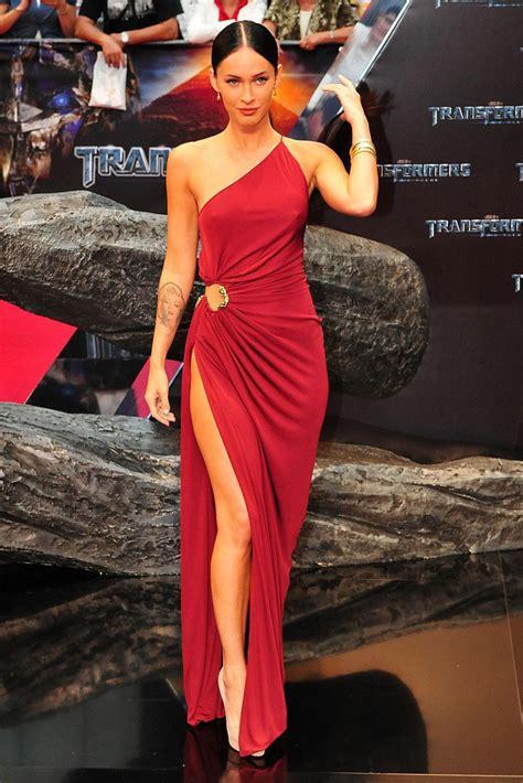 Megan Fox Red Carpet Dress One Shoulder Burgundy Sheath Celebrity Prom Dress   Xdressy