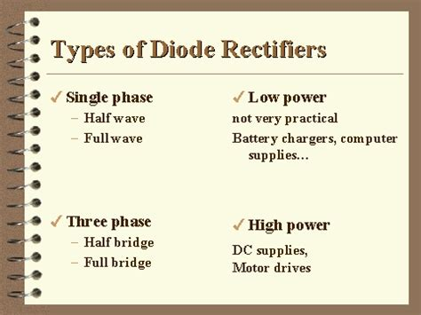 types of rectifier diodes types of diode rectifiers