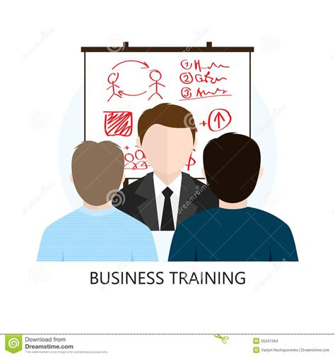 design concept training business training icon flat design concept stock vector