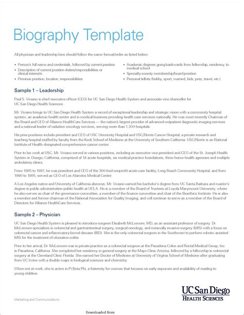 biography sle format for students excellent biography template kids contemporary entry