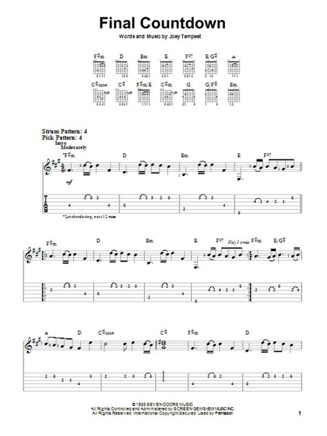 final sections in music final countdown sheet music by europe easy guitar tab