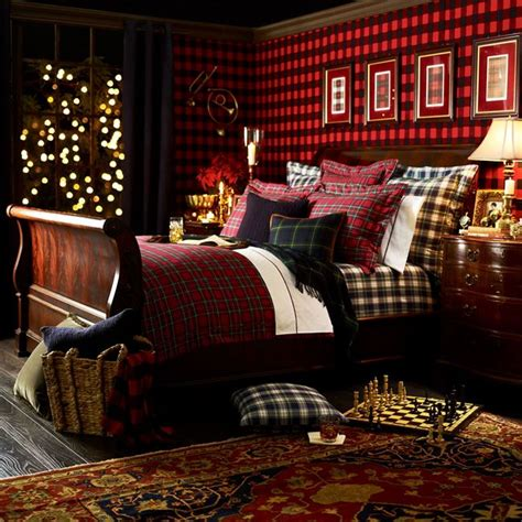 ralph lauren home bedroom decorate for fall with classic tartans and plaids