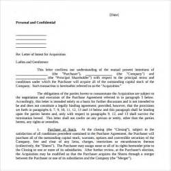 Letter Of Intent Exles Business Acquisition Letter Of Intent To Purchase Business 8 Free