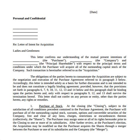mergers and acquisitions cover letter letter of intent to purchase business 8 free