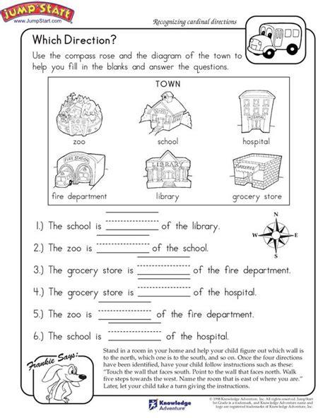 kindergarten activities social studies which direction printable worksheet for kids k