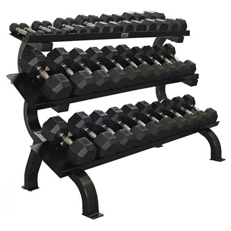 Rak Dumbbell vtx 5 75lb dumbbells w 3 tier shelf dumbbell rack