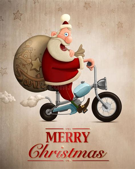 santa claus motorcycle delivery greeting card stock illustration illustration  funny