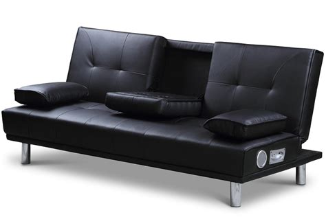 Sofa N Bed Manhattan Black Faux Leather Sofa Bed With Bluetooth