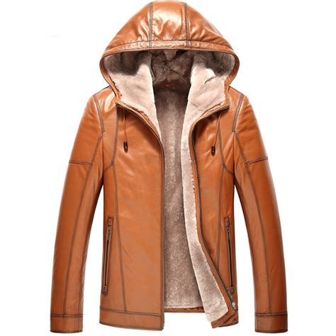 Jaket Simpel Elegan Hooded Jacket mens hooded shearling leather jacket cw857167
