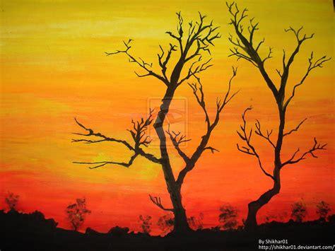 sunset water colour painting by shikharsrivastava on deviantart