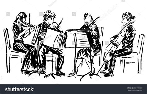 sketchbook quartet handdrawn sketch musicians quartet stock vector