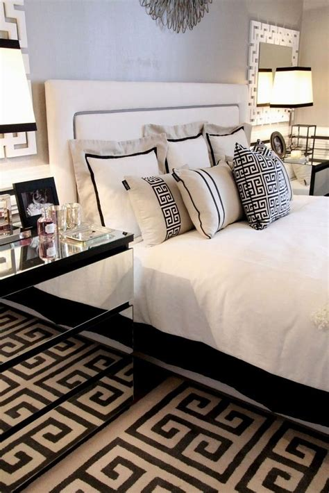 white bedroom rug this black grey white bedroom has a reoccurring greek key