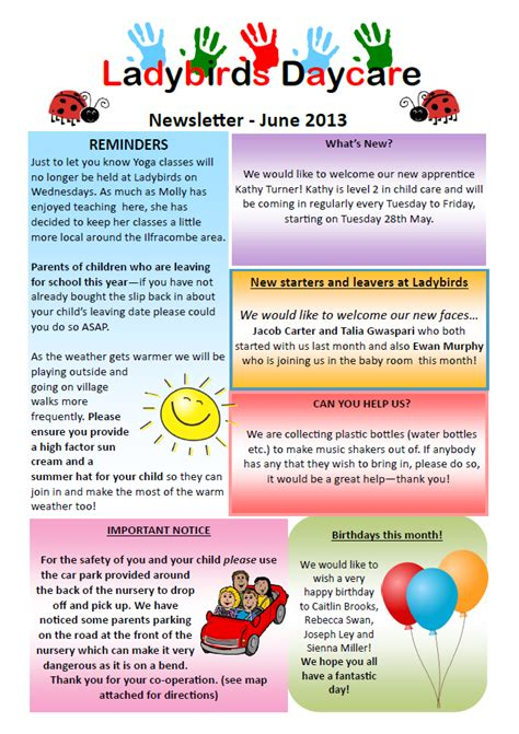 childcare newsletter templates past newsletters ladybirds daycare barnstaple