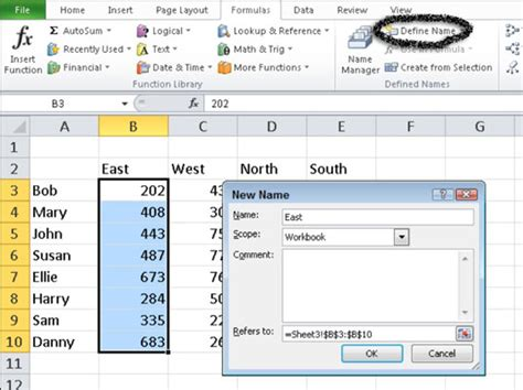 excel 2007 format the selected range of cells as u s currency how to name a cell or range in excel 2010 dummies