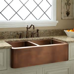 farm sinks kitchen 33 quot aberdeen 60 40 offset bowl copper farmhouse