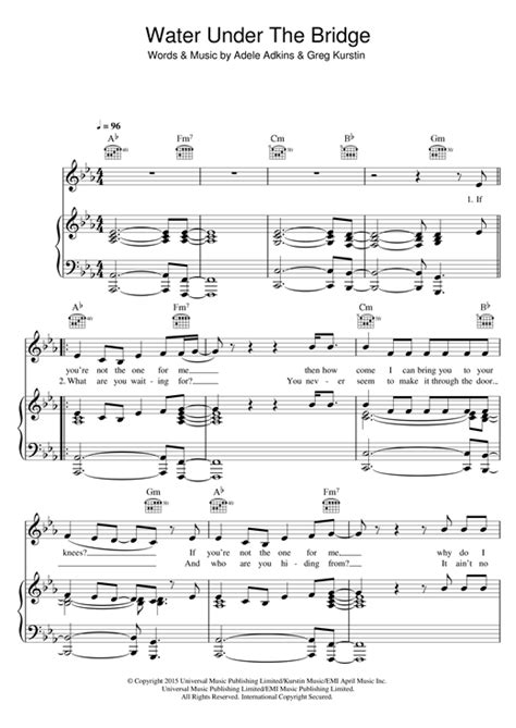 water under the bridge by adele easy guitar tab guitar adele water under the bridge sheet music piano notes