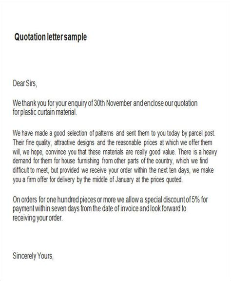 Letter Inquiry Price Quotation Sle Quotation Letter In Doc 9 Exles In Word