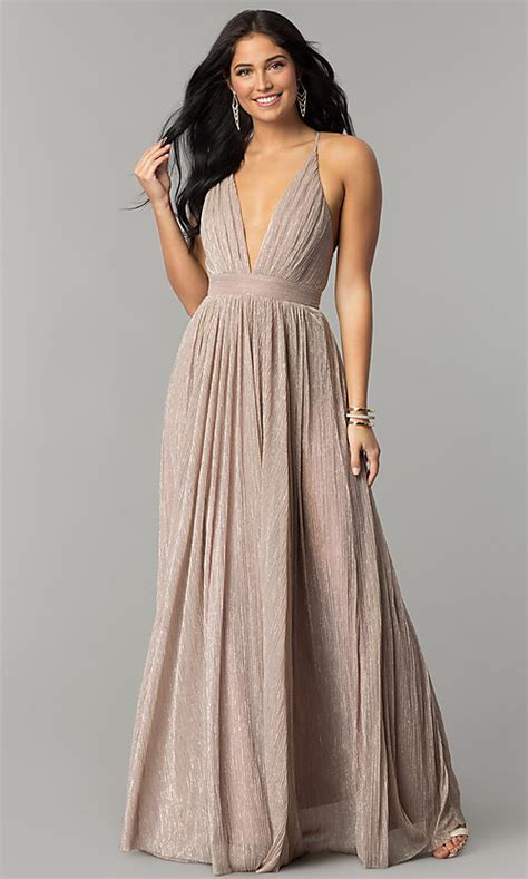 v neck metallic crepe prom dress promgirl